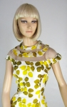 Gorgeous Detailed Vintage 60s Petal Printed Silk Dress