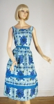 Blue Floral Fantasy Vintage 50s Cotton Sun Dress