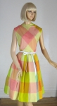 Fruity Sherbet Vintage 60s Window Pane Plaid Dress