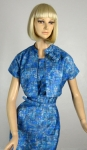 Icy Blue Cubist Print  Vintage 50s Wiggle Dress