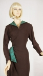 Saucy Vintage 40s Chocolate & Mint Crepe Dress