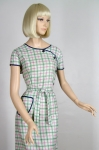 Asymmetrical Buttoned Vintage 50s Plaid Dress