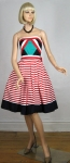 Sassy Nautical Vintage 80s Strapless Party Dress