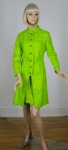 Op Art Vintage 60s Go-Go Lemon Lime Dress & Coat Ensemble