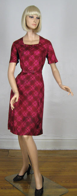 Raspberry Cutie Vintage 60s Detailed Dress