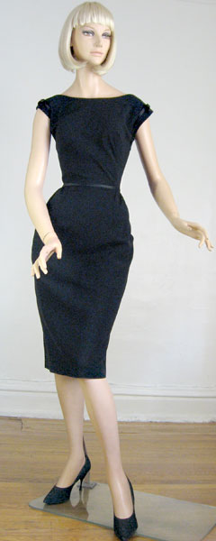 Sleek Satin Trimmed Vintage 60s Black Cocktail Dress