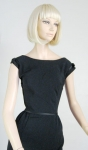 Sleek Satin Trimmed Vintage 60s Black Cocktail Dress 2.jpg