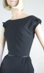 Sleek Satin Trimmed Vintage 60s Black Cocktail Dress 5.jpg