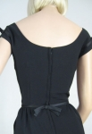 Sleek Satin Trimmed Vintage 60s Black Cocktail Dress 7.jpg