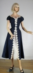 Blue Taffeta Vintage 50s Appliqued Party Dress