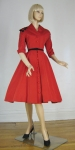 Cherry Red Vintage 50s Faille Coat Dress