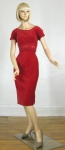 Posh Vintage 60s Red Velvet Wiggle Dress