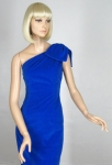 Vampy Vintage 60s Electric Blue One Shoulder Dress
