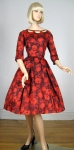 Knock-Out Vintage 50s Red Floral Print Dress