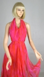 Fiery Flame Pink Jack Bryan Vintage 60s Halter Dress