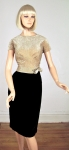 Ritzy Glitzy Vintage 60s Gold Lurex and Velvet Dress