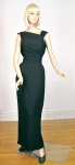 One Shoulder Asymmetrical Vintage 60s Draped Black Gown