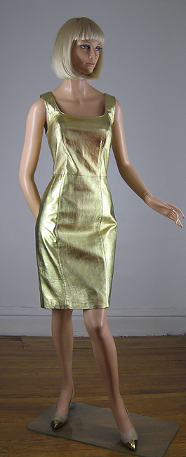 Metallic Gold Leather Vintage 80s Body Con Dress