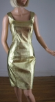 Metallic Gold Leather Vintage 80s Body Con Dress 02.jpg