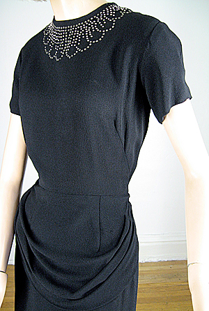 Black Vintage 40s Draped Waist Studded Crepe Dress