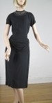 Black Vintage 40s Draped Waist Studded Crepe Dress 03.jpg