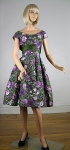 Lush Vintage 50s Purple Rose Party Dress