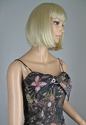 Pink Glitter Vintage 50s Asian Fans & Butterflies Party Dress