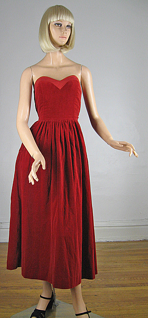 Lush Red Velvet Vintage 80s Strapless Dress