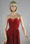 Lush Red Velvet Vintage 80s Strapless Dress 02.jpg
