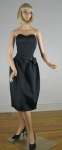 Satin Vintage 80s Black Strapless Party Dress