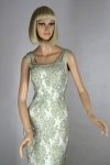 Heavily Beaded Vintage 60s Celadon Evening Gown