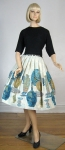 Graphic Novelty Print Vintage 60s Full Skirt