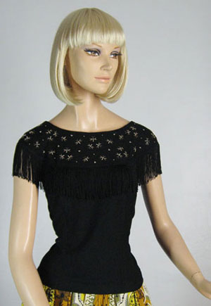 Black Fringed Vintage 50s Embellished Bug Top