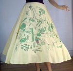 Sporty Novelty Print Vintage 50s Circle Skirt