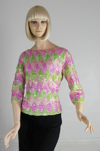 Shiny Sequin Vintage 60s Sweater