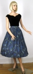 Novelty Mandolin Print Vintage 50s Full Skirt