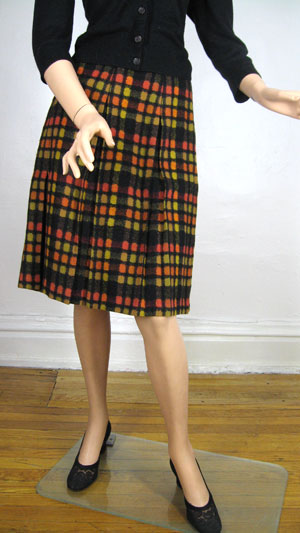 Geometric Plaid Vintage 60s Wool Pleated Skirt