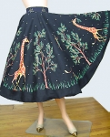 Comical Vintage 50s Giraffe Print Novelty Print Skirt