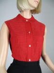 Cherry Red Pintuck Vintage 50s Bib Front Blouse