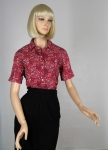 Cute Vintage 60s Red Bandana Print Blouse