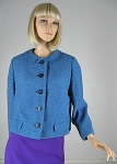 Chic Teal Tweed Vintage 60s Boxy Jacket 02.jpg