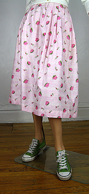 Darling Vintage 50s Pink Carnation Print Skirt