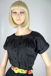 Perfect Black Vintage 60s Cotton Blouse