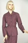 Chic Vintage 50s Belted Structured Plaid Suit