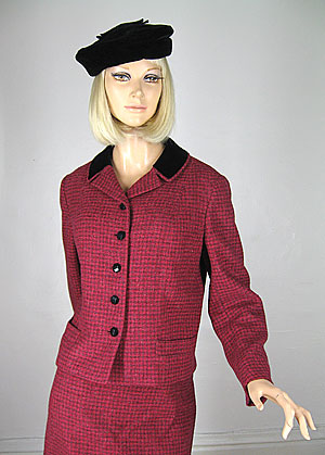 Tweed Raspberry Vintage 60s Velvet Trim Suit