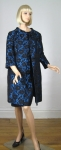 Stuning Midnight Blue Vintage 60s Brocade Dress and Coat