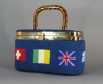 Needlepoint Vintage 70s Flag Box Bag