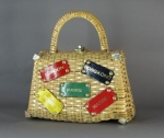 Fun Vintage 60s Novelty Wicker Travel Theme Bag