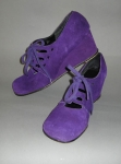 Deep Purple Vintage 70s Wedge Lace-Up Shoes