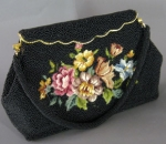 Romantic Vintage 50s Beaded Tapestry Bag